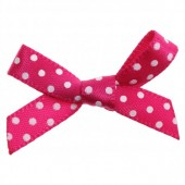 7mm Fuchsia Polka Dot Satin Bows Pk/10