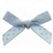 7mm Baby Blue Polka Dot Satin Bows Pk/10