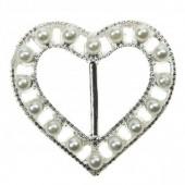 Bonnie Pearl Heart Buckle 27mm
