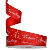 Red Season's Greetings Ribbon 25mm
