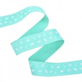 25mm Aqua Seashells Ribbon