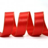 15mm Gold Edge Ribbon - Red