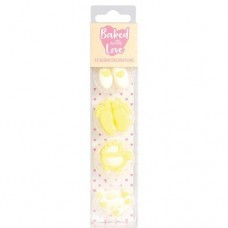 Baked with Love Baby Cupcake Decorations Yellow Pk/13