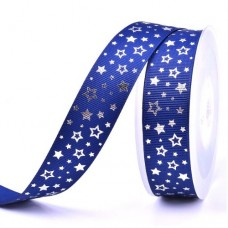 25mm Navy Silver Star Ribbon