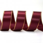 15mm Gold Edge Ribbon - Wine