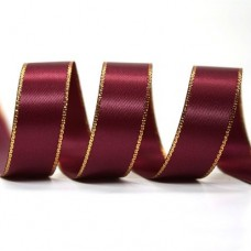 15mm Gold Edge Ribbon - Wine