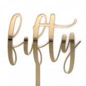 Gold Fifty Cake Topper - Mirror Acrylic