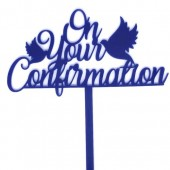 On Your Confirmation Topper - Navy Acrylic
