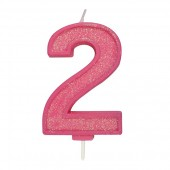 Pink Sparkle '2' Candle