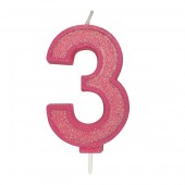 Pink Sparkle '3' Candle