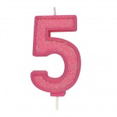 Pink Sparkle '5' Candle