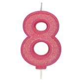 Pink Sparkle '8' Candle