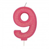 Pink Sparkle '9' Candle