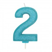 Blue Sparkle '2' Candle