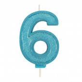 Blue Sparkle '6' Candle