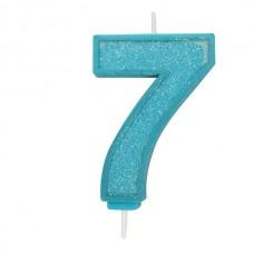Blue Sparkle '7' Candle