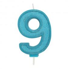 Blue Sparkle '9' Candle