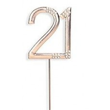 Diamante '21' Rose Gold Cake Topper
