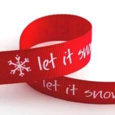 15mm Let It Snow Ribbon - 5m Roll