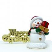 Sweet Snowman Resin Cake Topper & Motto