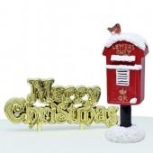 Snowy Post Box Resin Cake Topper & Motto