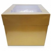 Antique Gold Luxury Gloss Finish Extra Deep Cake Box With Window 12""