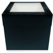 Black Matt Extra Deep Cake Box With Window 12""