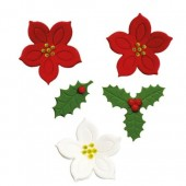 Decora Poinsettias & Holly Leaves Sugar Decorations Pk/7