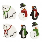 Decora Snowman & Bear Sugar Decorations Pk/6