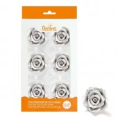 Decora 50mm Silver Roses Pk/6