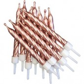 Rose Gold Spiral Candles Pk/12