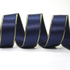 15mm Gold Edge Ribbon - Navy