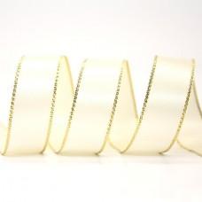 15mm Gold Edge Ribbon - Ivory