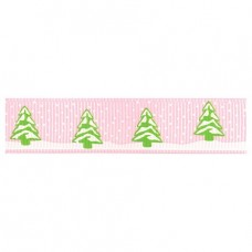 15mm Snowy Trees Ribbon - Baby Pink