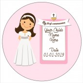 Brown Haired Communion Girl Edible Topper