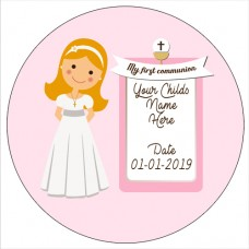 Red Haired Communion Girl Edible Topper