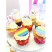 Rainbow Unicorn Cupcake Toppers - 15 x 2""