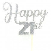 Silver Glitter Happy 21st Cake Topper - Card