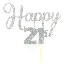 Silver Glitter Happy 21st Cake Topper - Card