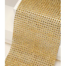 12cm Wide Gold Diamante Ribbon 1yard