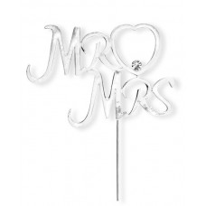 Large Silver 'Mr & Mrs' Topper