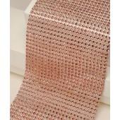 12cm Wide Rose Gold Diamante Ribbon 1yard