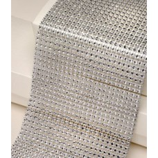 12cm Wide Silver Diamante Ribbon 1yard