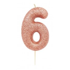 '6' Rose Gold Glitter Candle