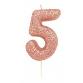 '5' Rose Gold Glitter Candle