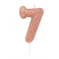 '7' Rose Gold Glitter Candle