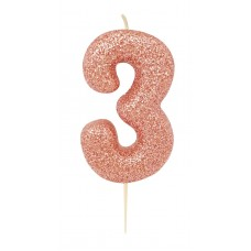 '3' Rose Gold Glitter Candle