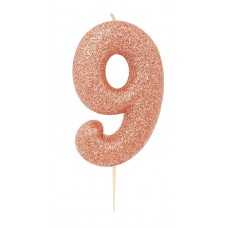 '9' Rose Gold Glitter Candle