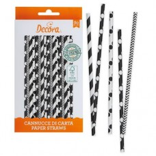 Decora Black & White Straws Pk/80