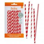 Decora Red & White Straws Pk/80